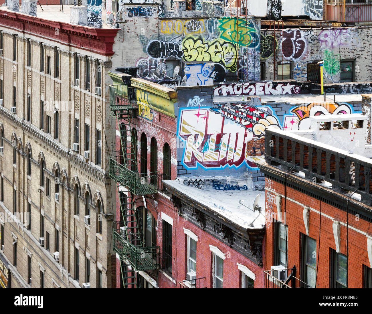 New York City Block Of Apartment Buildings With Graffiti Covered Roof Tops Part 93