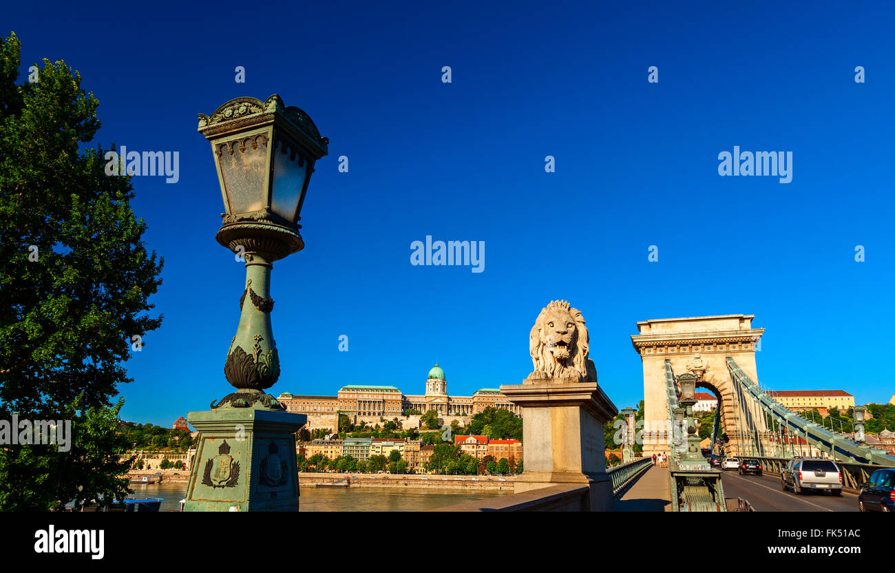 Chain Bridge In The City Of Budapest Stock Photo Royalty