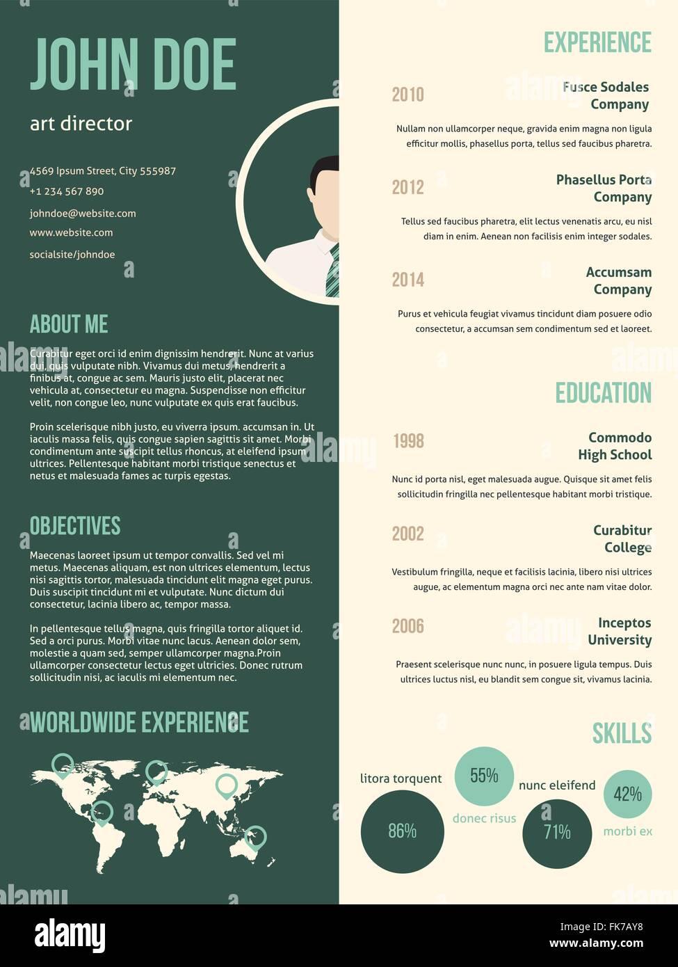New Modern Resume Cv Curriculum Vitae Template With Green Stripe