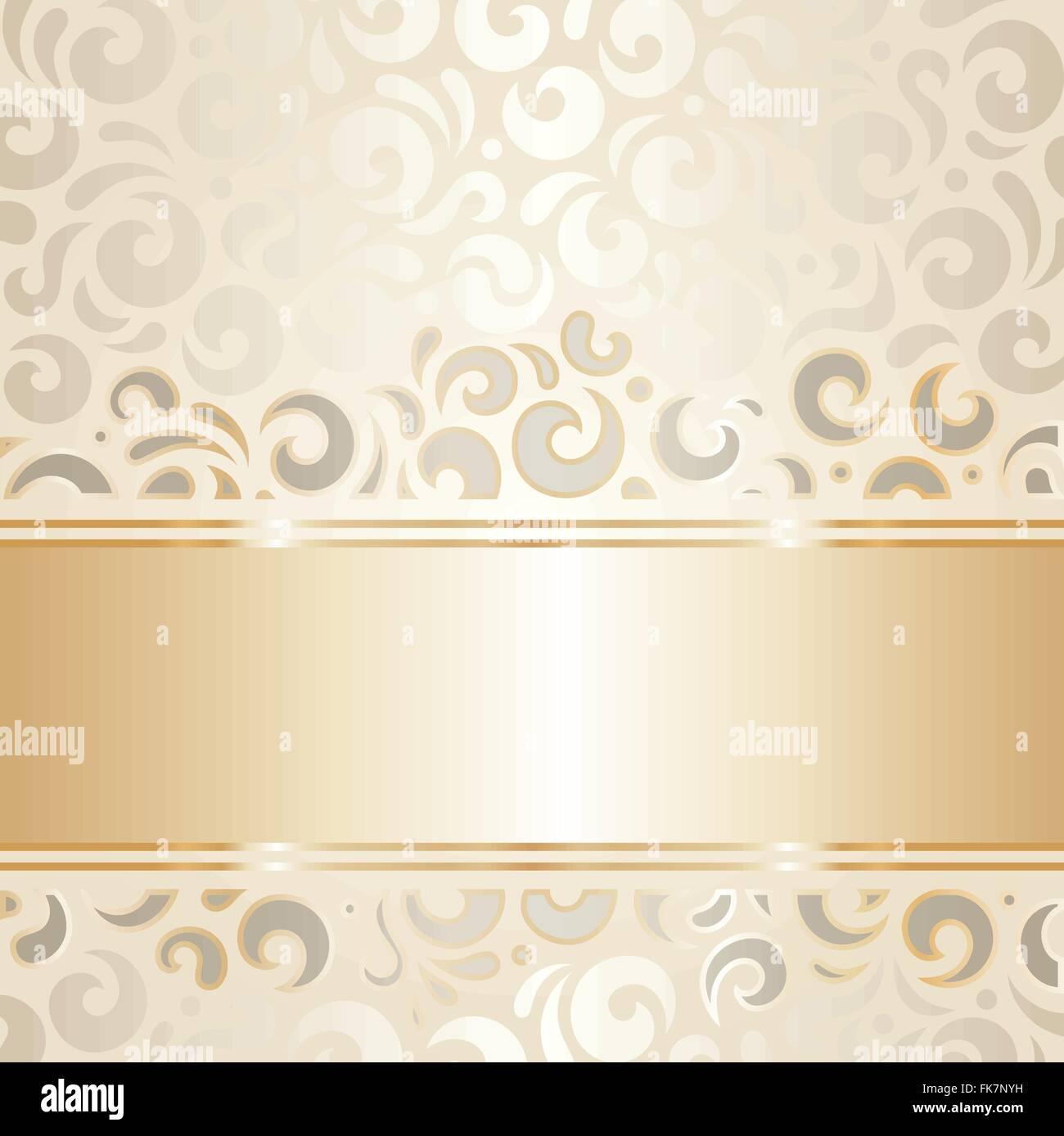 Retro wedding background wallpaper design ecru & gold ...