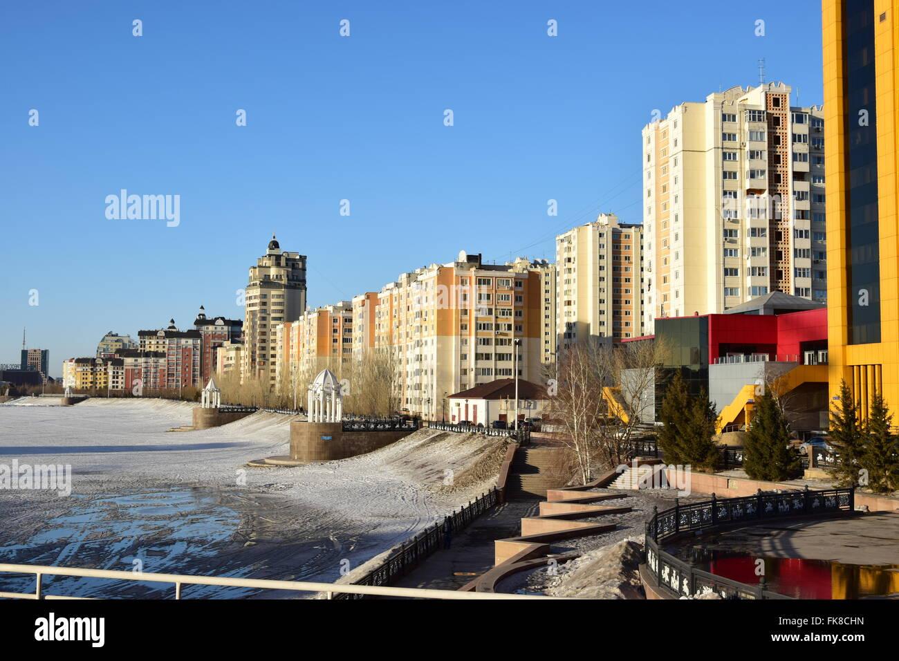 Street view in Astana, Kazakhstan, in winter Stock Photo ...