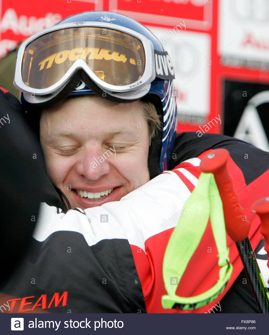 Andreas Buder of Austria gets a hug after his <b>third place</b> finish at the ... - andreas-buder-of-austria-gets-a-hug-after-his-third-place-finish-at-FK8P86