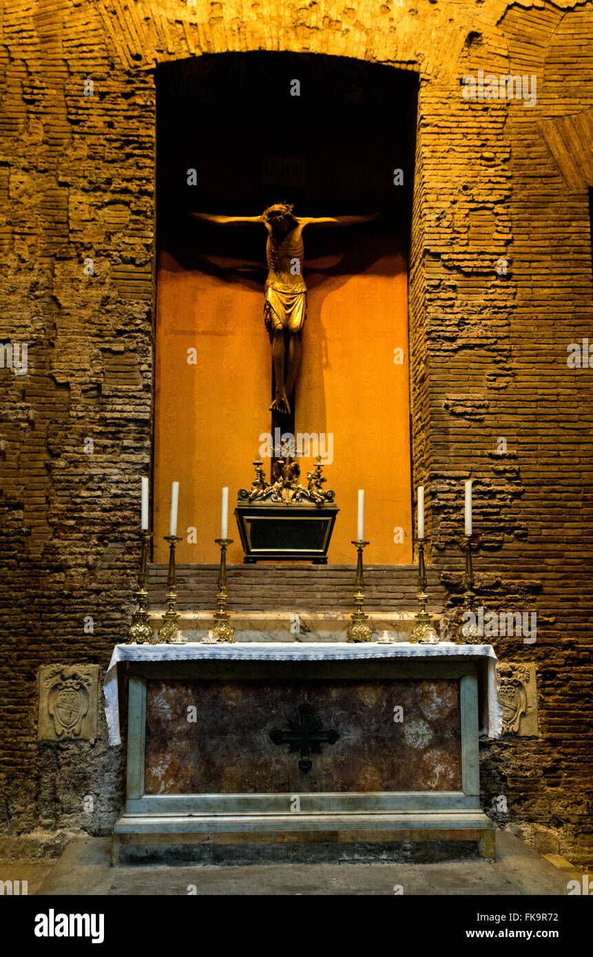 pantheon side altar statue of jesus on the cross stock photo
