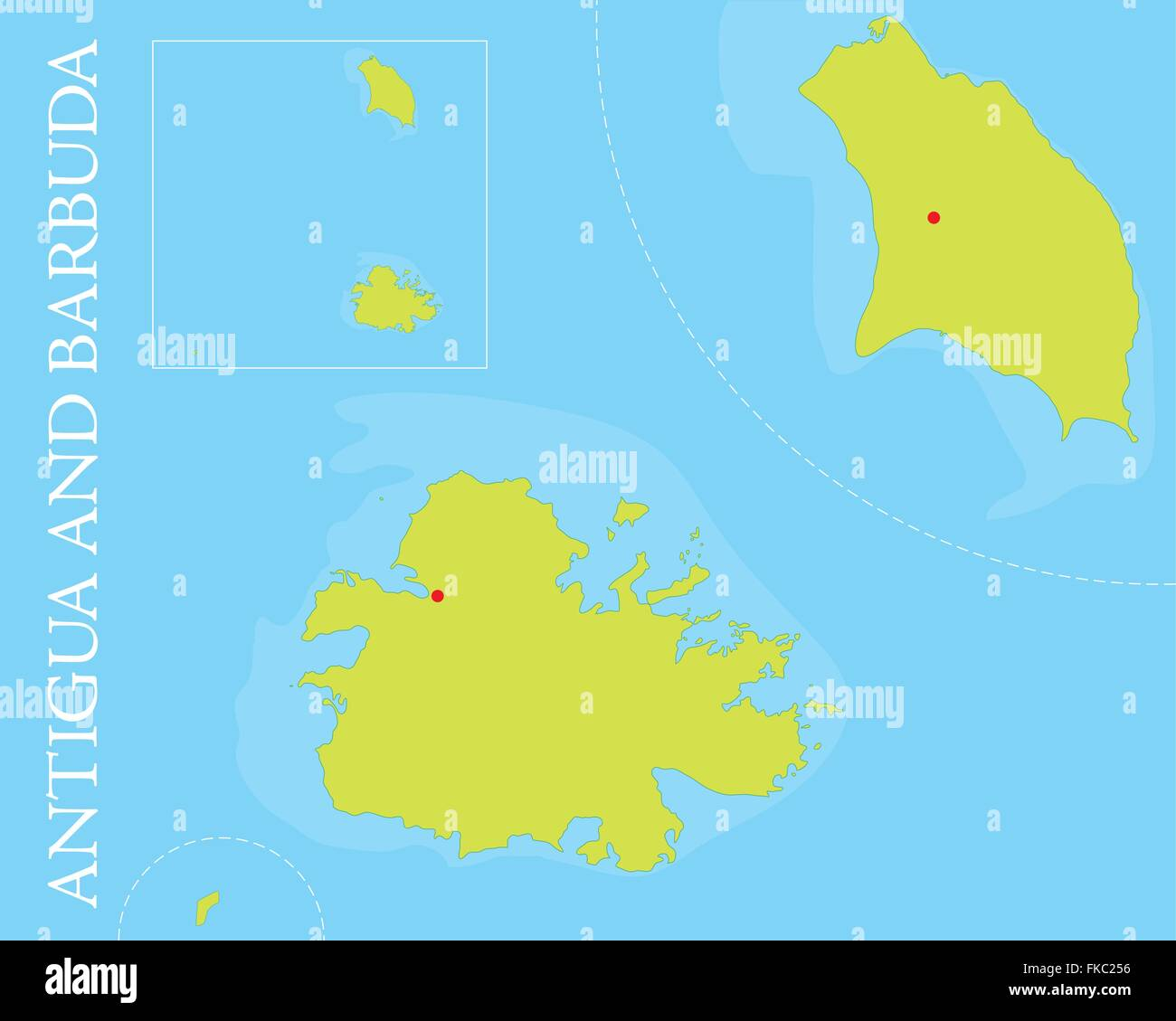 Map of Antigua and Barbuda archipelago in the Caribbean Sea Stock