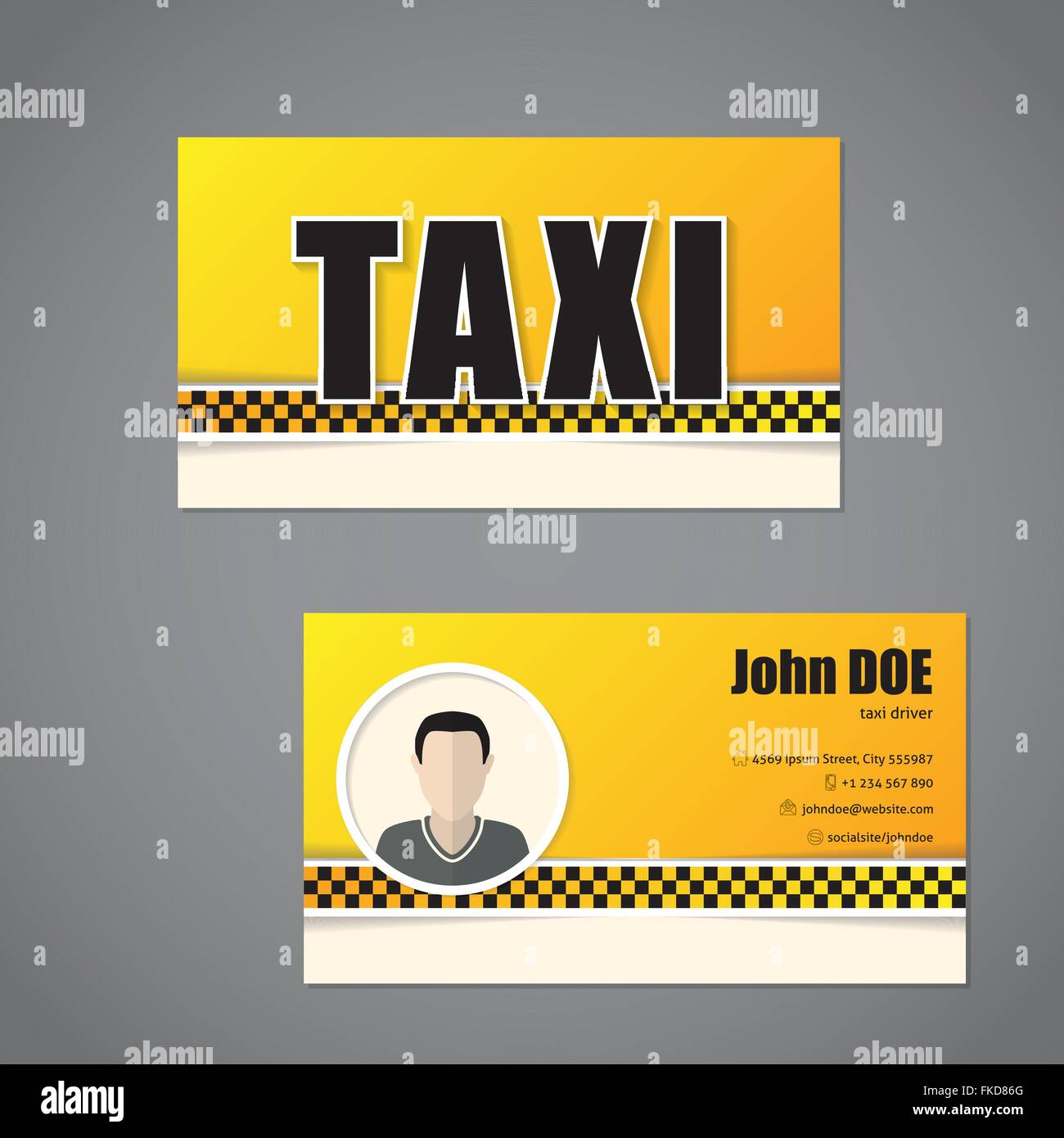 Taxi business card template design with driver photo on back Stock ...