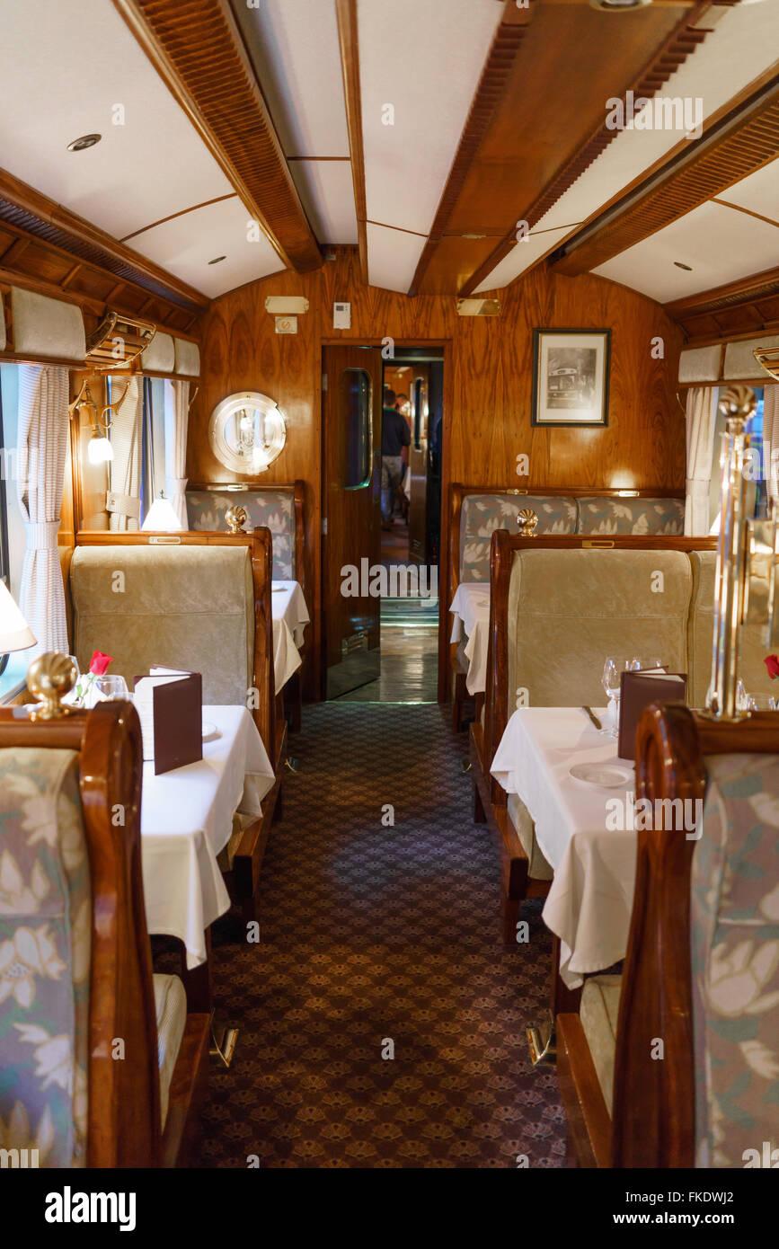 Dining Table In First Class Train Car, Machu Picchu, Cusco Region, Urubamba  Province, Machupicchu District, Peru