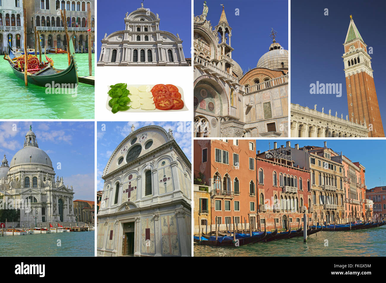 Venice Famous Landmarks Picture Collage Italy