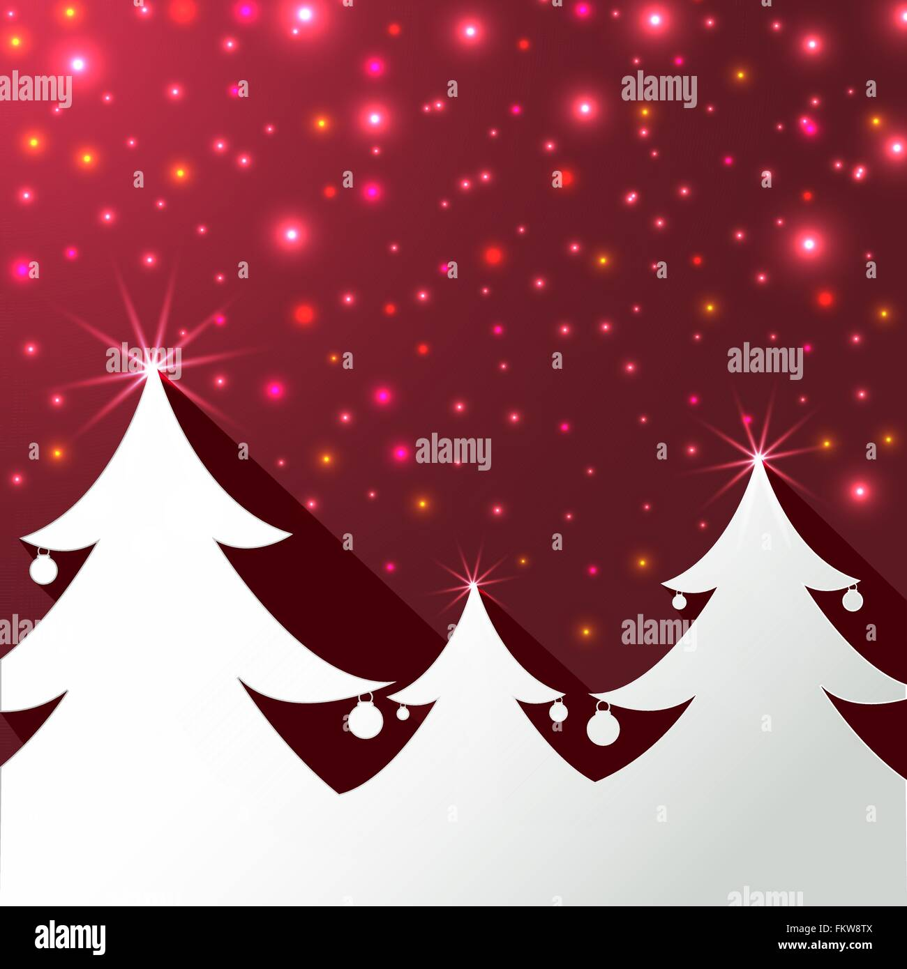 Christmas trees shape on red magical greeting card stock vector art christmas trees shape on red magical greeting card kristyandbryce Images