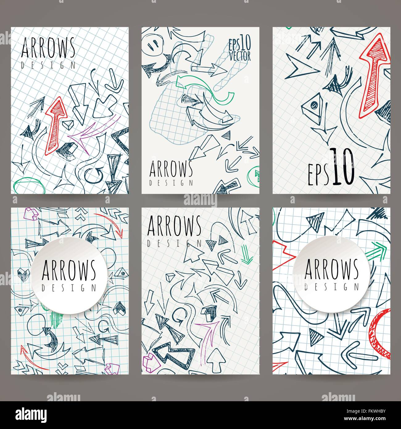 Set of six vector designs of hand-drawn arrow. Cover design Stock ...