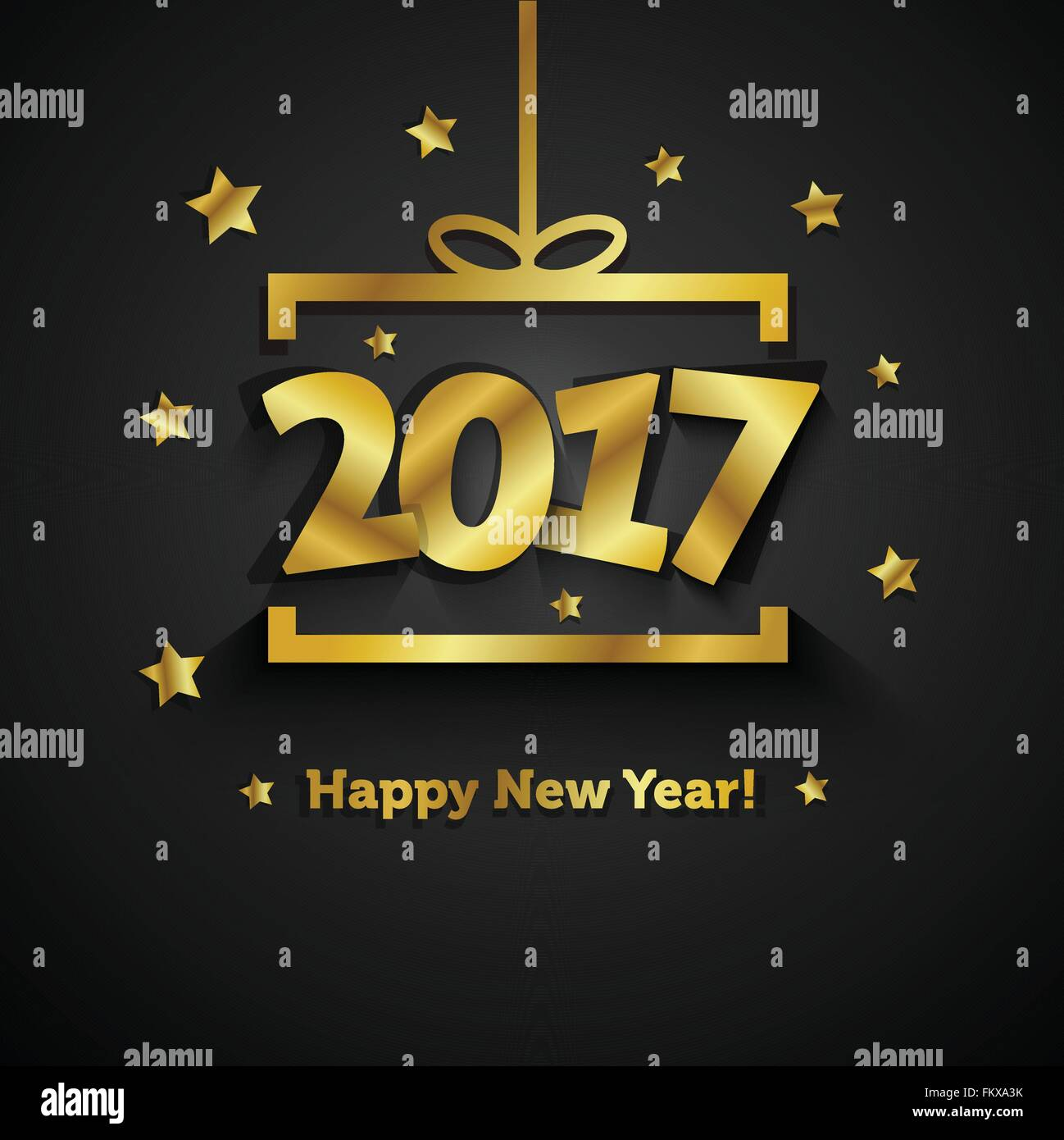 Golden gift box with 2017 happy new year greeting card stock vector golden gift box with 2017 happy new year greeting card kristyandbryce Images
