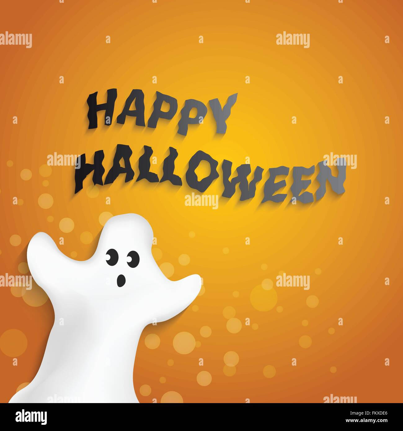 Wonderful Funny Ghost Shape With Happy Halloween Message Design Inspirations