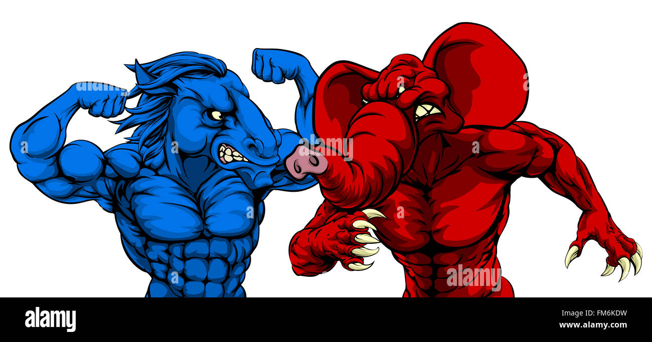 A blue donkey and red elephant fighting american politics or a blue donkey and red elephant fighting american politics or election concept with symbol animals of the democrat and republica buycottarizona