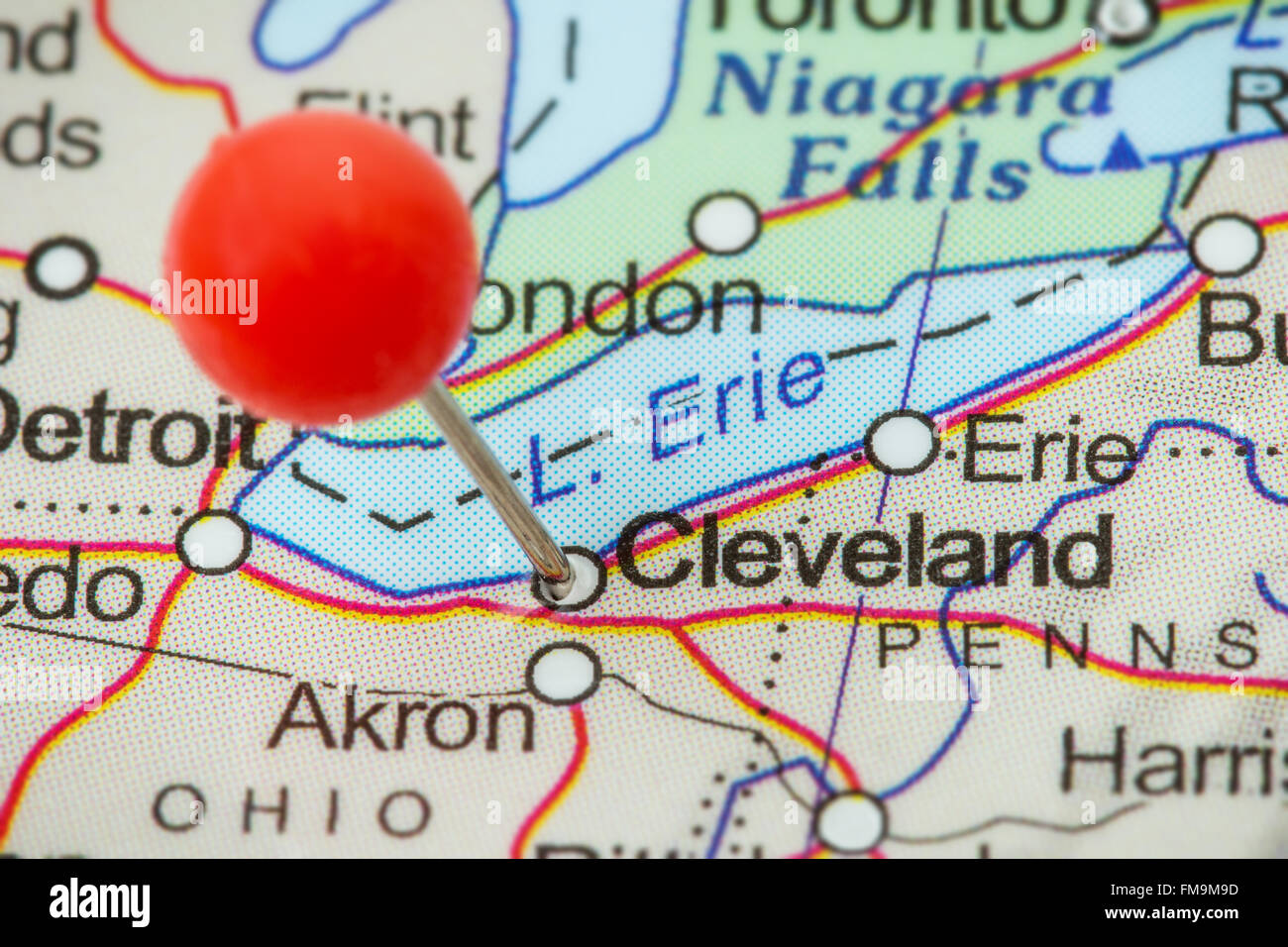 Closeup Of A Red Pushpin In A Map Of Cleveland USA Stock Photo - Usa map cleveland