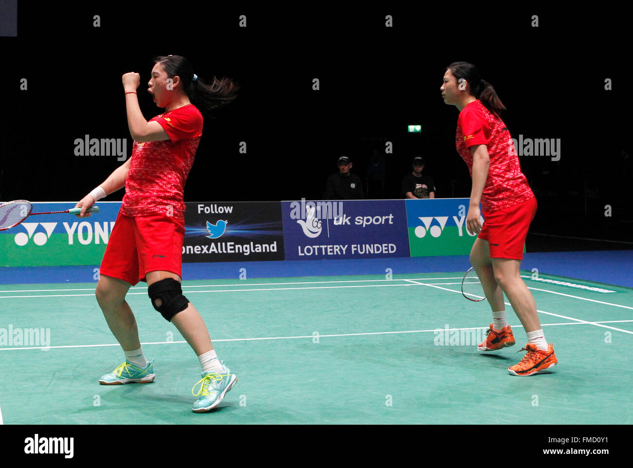Birmingham 11th Mar 2016 China s Luo Ying Luo Yu R celebrate