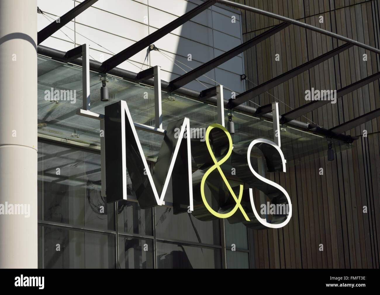 Marks and Spencer sign below glass canopy & Marks and Spencer sign below glass canopy Stock Photo Royalty ...