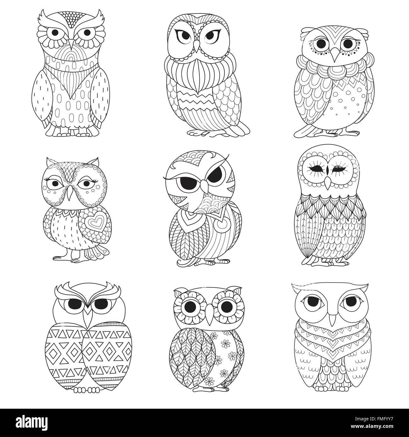 Shirt design book - Nine Owls Design For Coloring Book Tattoo Shirt Design And Other Decoration