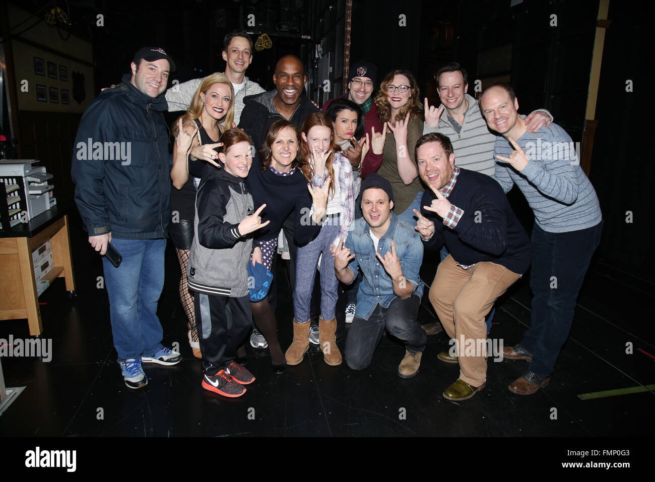 molly shannon visits the cast of the broadway musical of