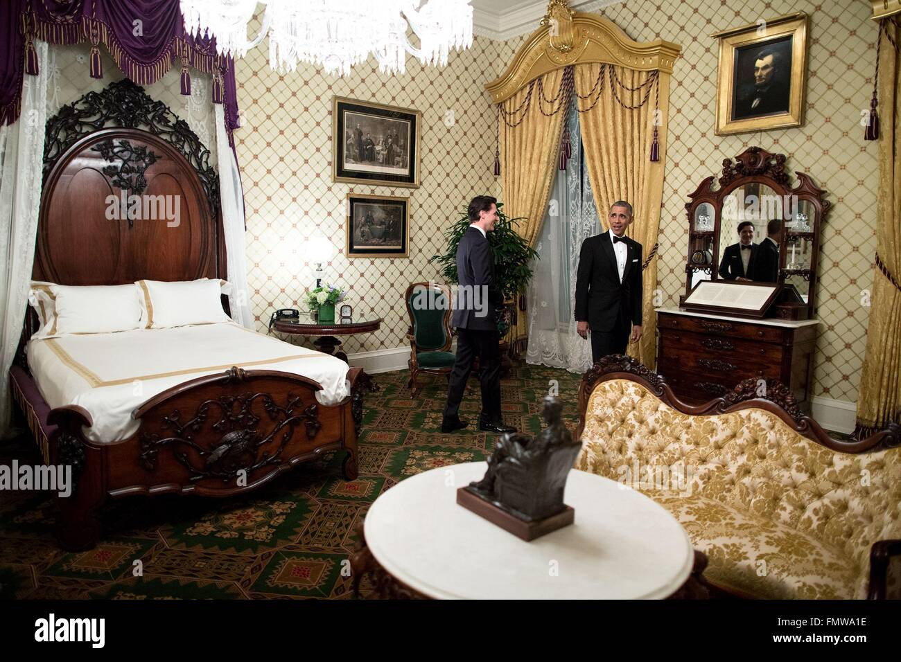 Stock Photo   U S  President Barack Obama shows Canadian Prime Minister  Justin Trudeau the Lincoln Bedroom before the State Dinner at the White  House March. U S  President Barack Obama shows Canadian Prime Minister Justin