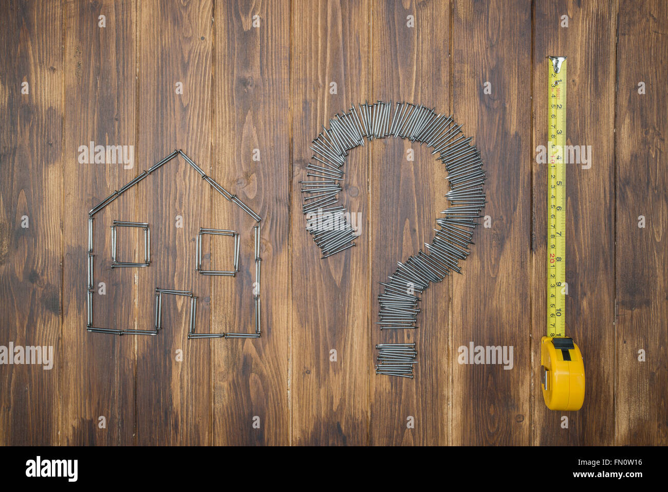 Housing measurement problem, repair by diy, Group of nail on ...