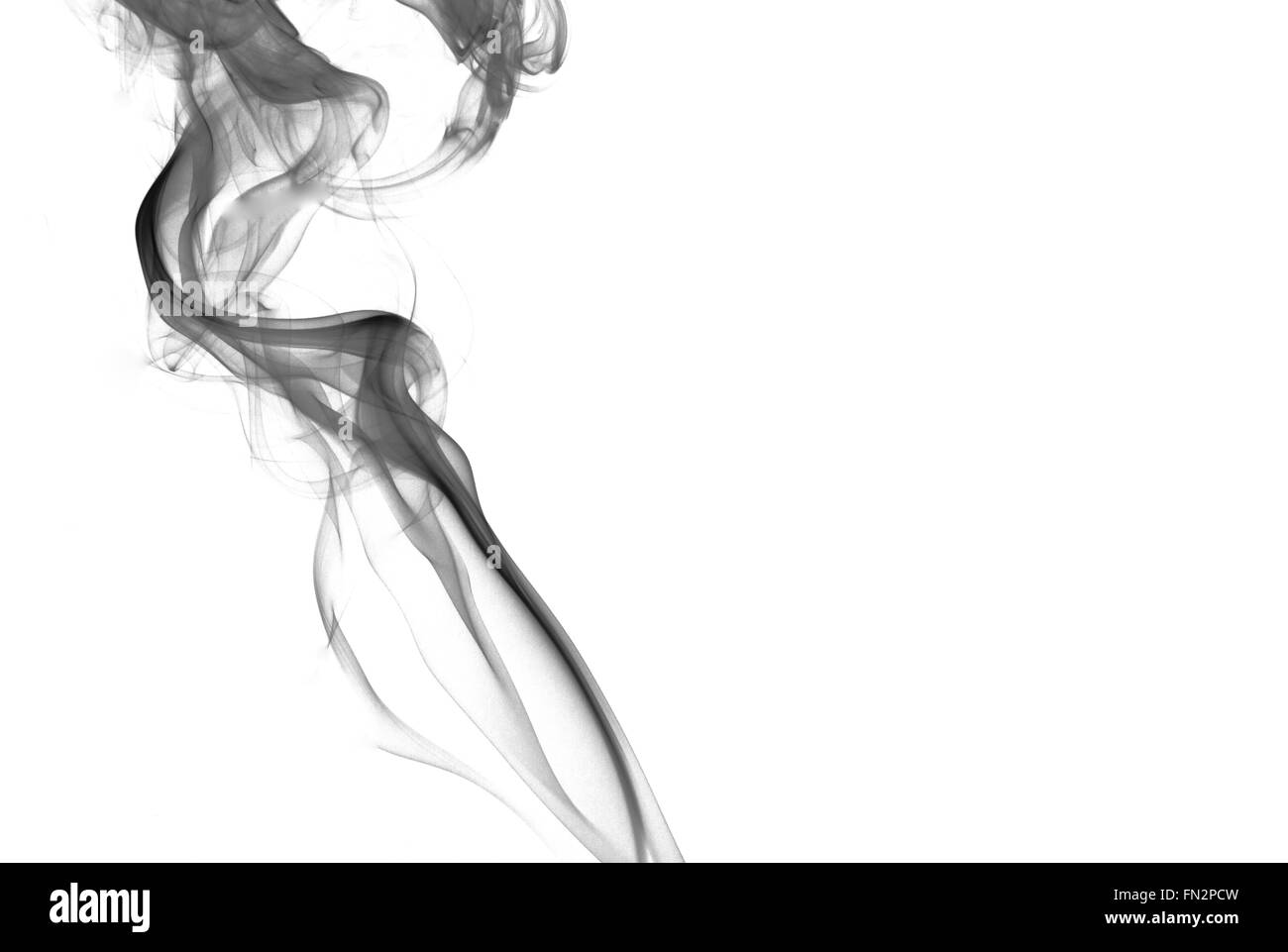 A Thick Streak Of Black Grainy Smoke Isolated On White Background With The Effect