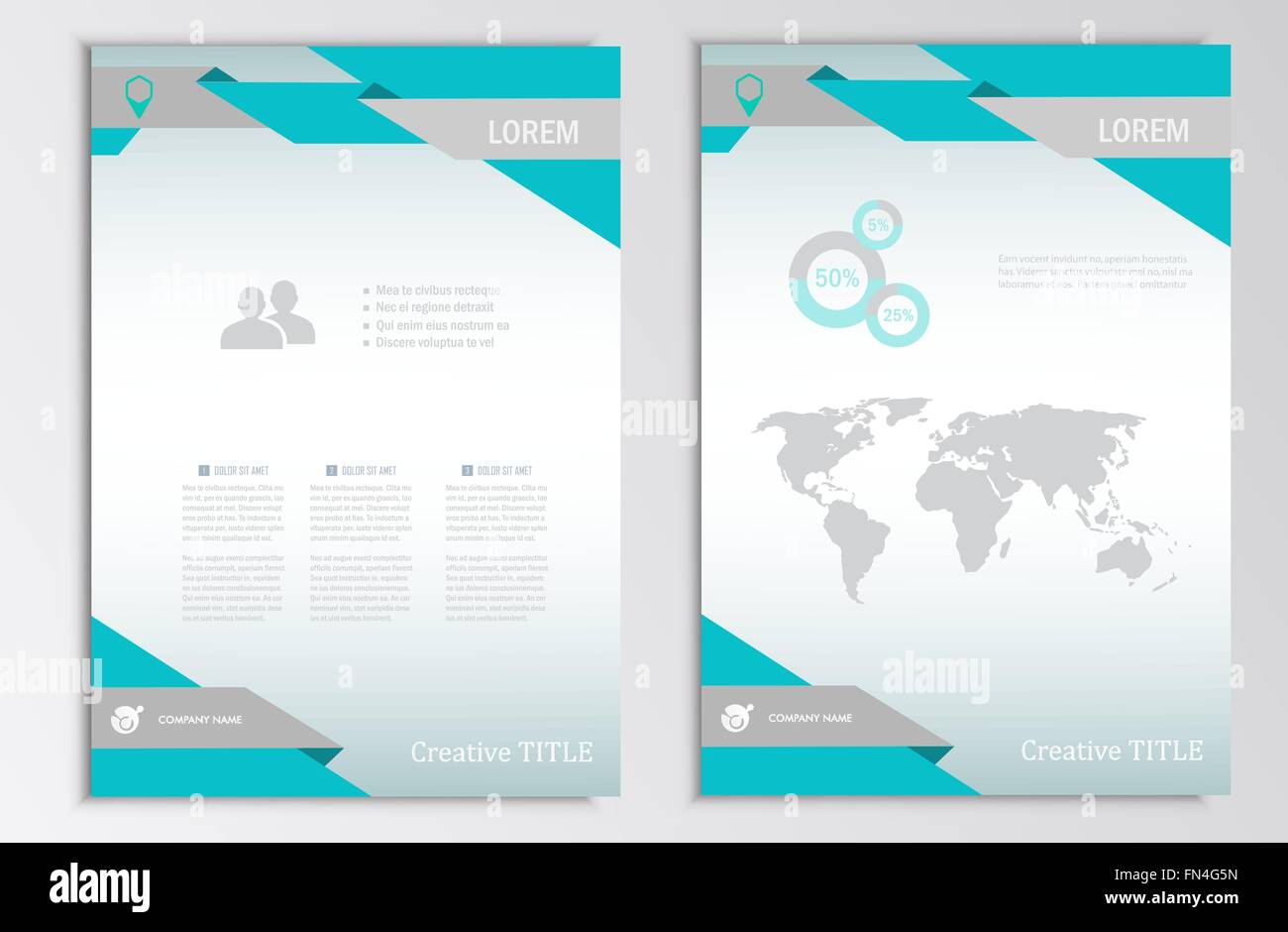 four page brochure template - vector brochure template a4 format layout home page and