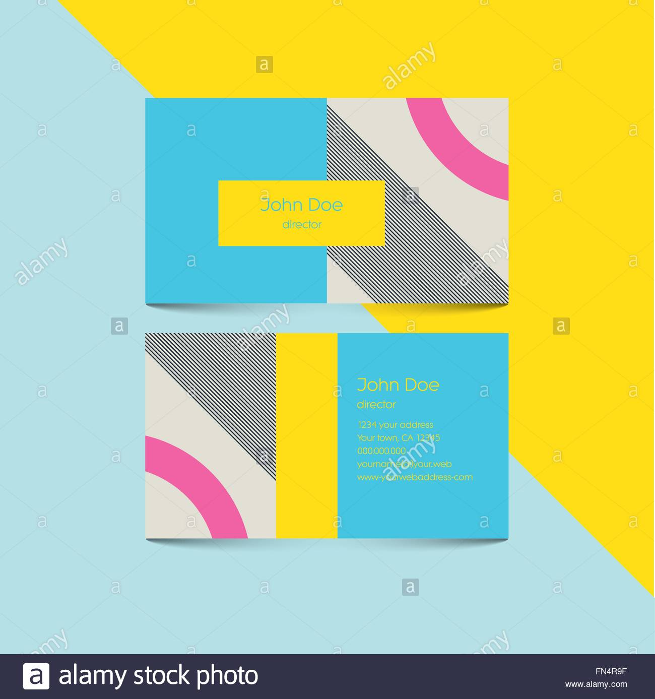 Business card template with abstract retro 80s background ...