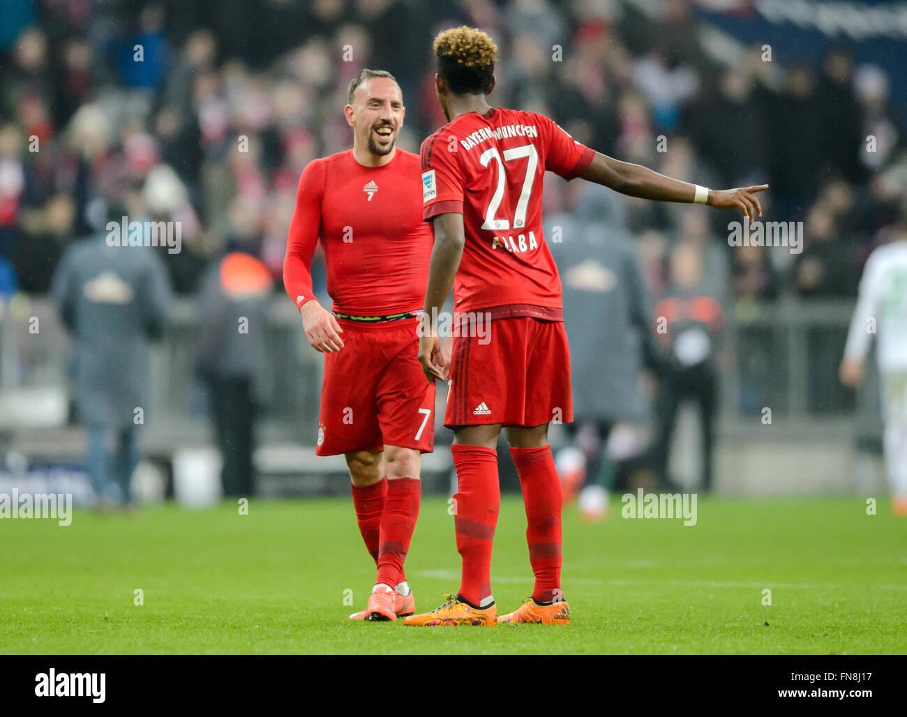 Munich Germany 12th Mar 2016 Munich s Franck Ribery L and