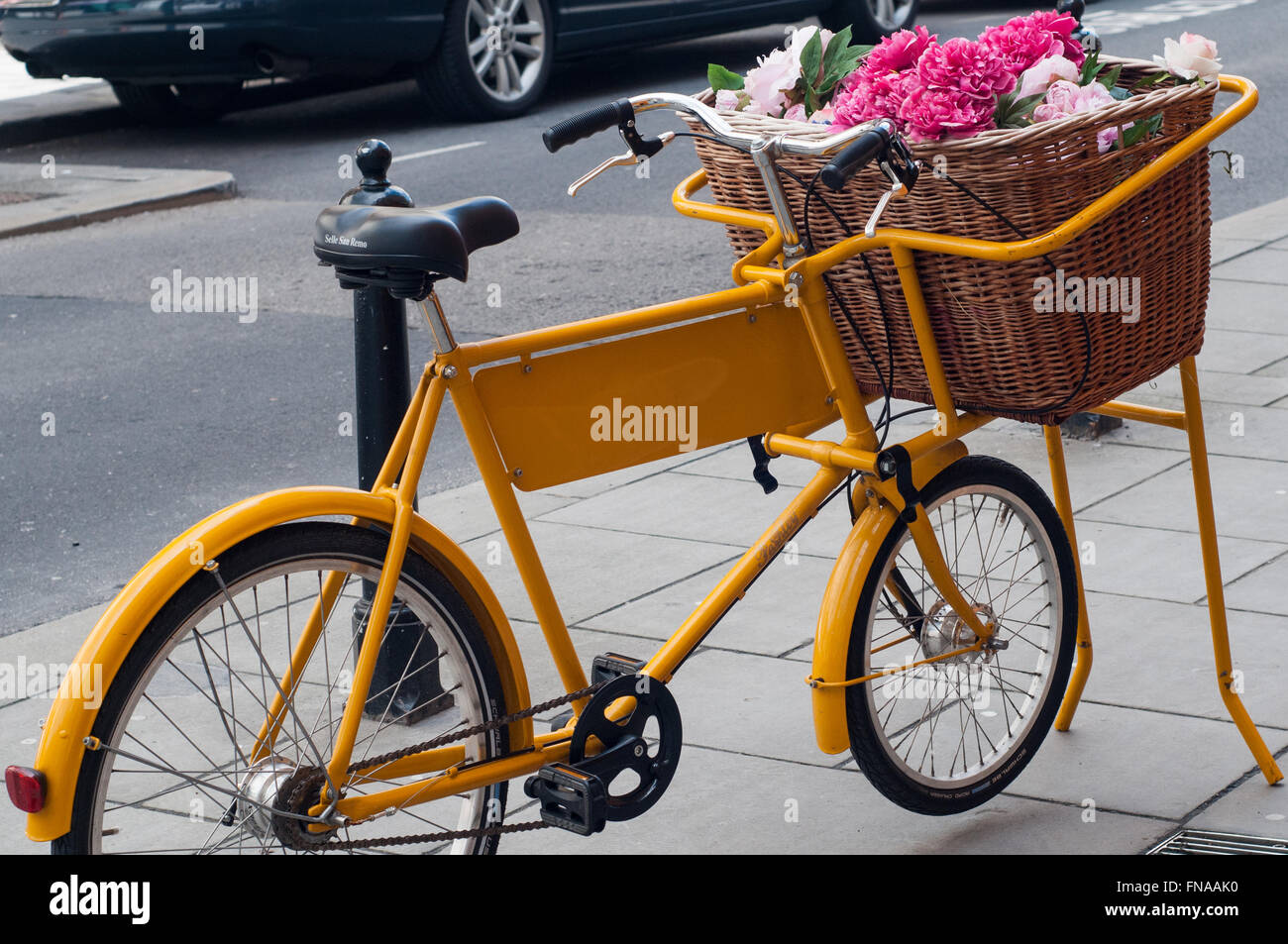 Decorative Yellow Vintage Bike Florist Display With Wicker Basket