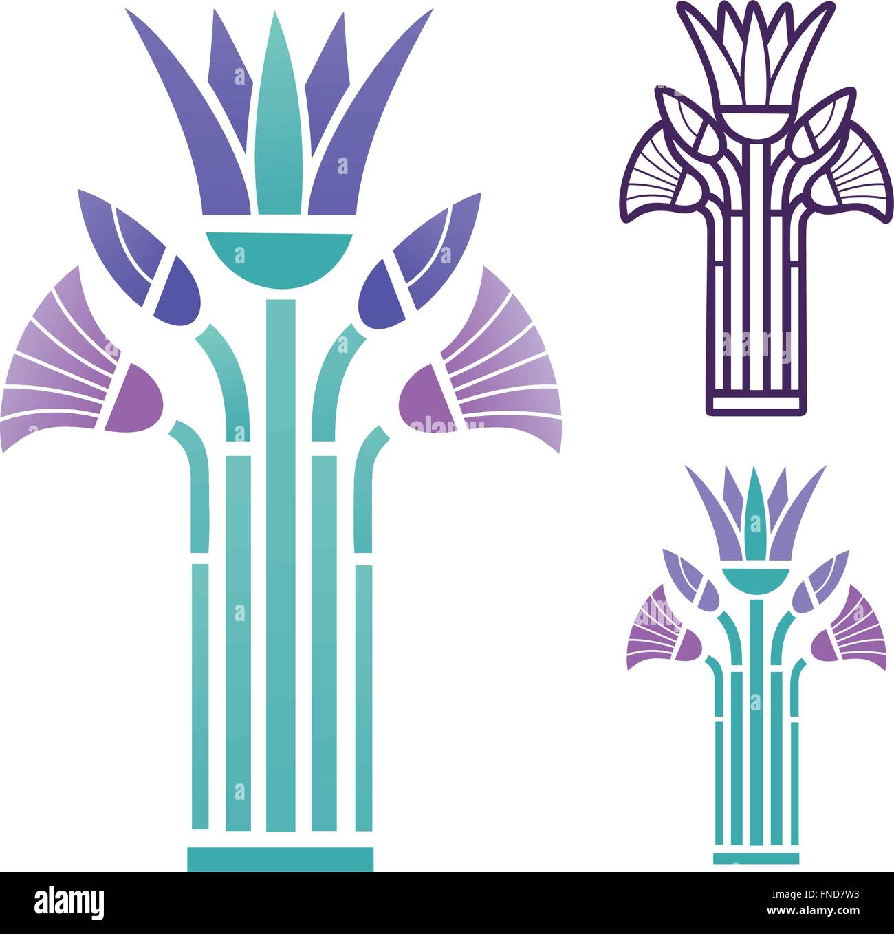 Ancient egyptian papyrus motif in art deco style and colors stock photo roya - Motif style art deco ...