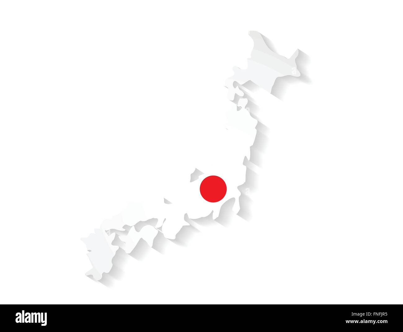 Japan Country Map With Flag And Shadow Effect Presentation Stock - Japan map flag