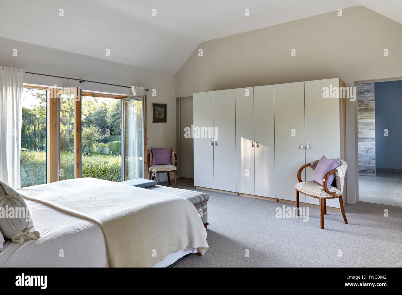 Master Bed Room With View To Bathroom And Double Glass