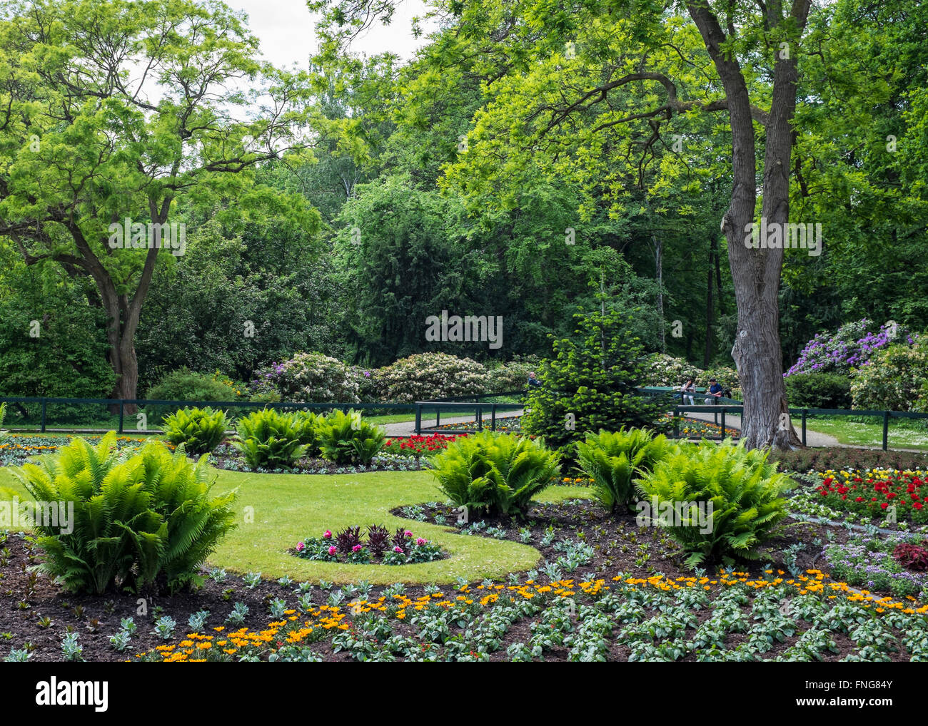 Formal Flower Garden With Bedding Plants In Tiergarten