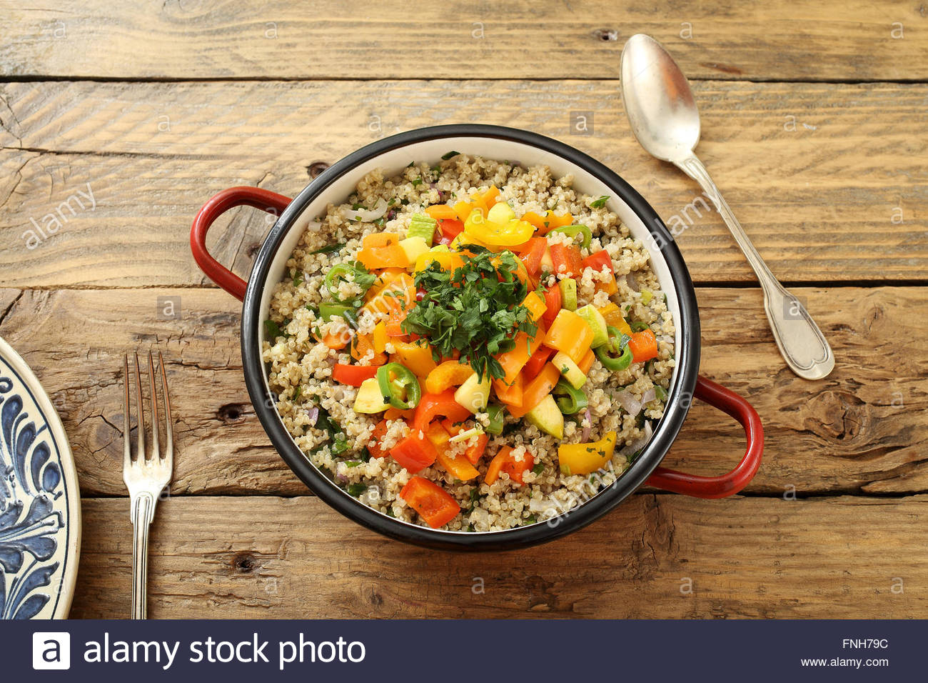 Kitchen table top view - Stock Photo Top View Vegan Quinoa Salad In Metal Pan On Rustic Kitchen Table Background