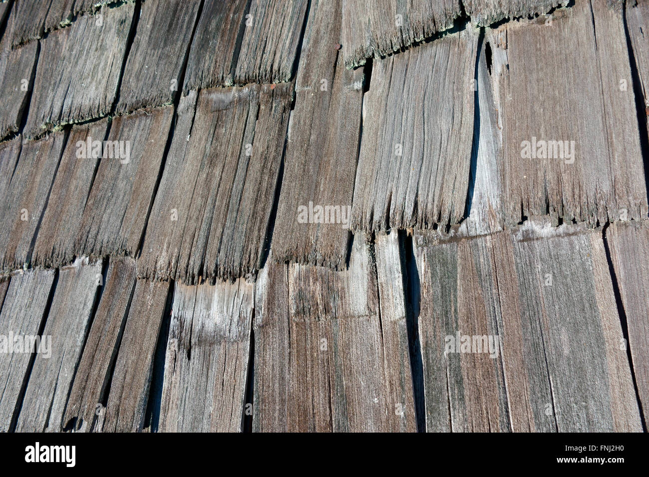 Stock Photo   Weathered Cedar Shingles On A Roof