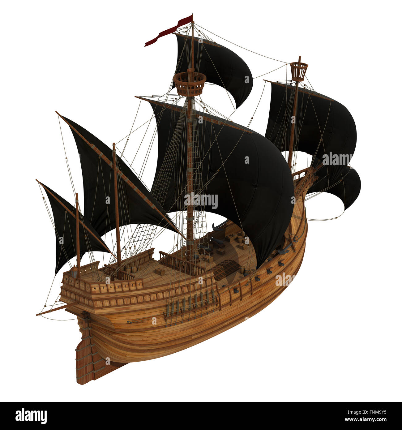pirate ship over white background 3d model stock photo royalty
