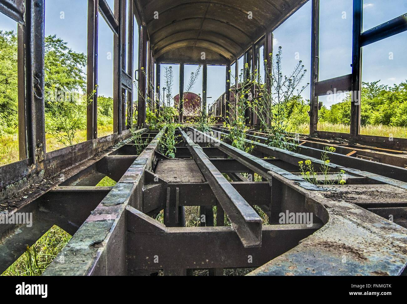 Old Railway Wagon On Siding And Waiting To Cassation Or