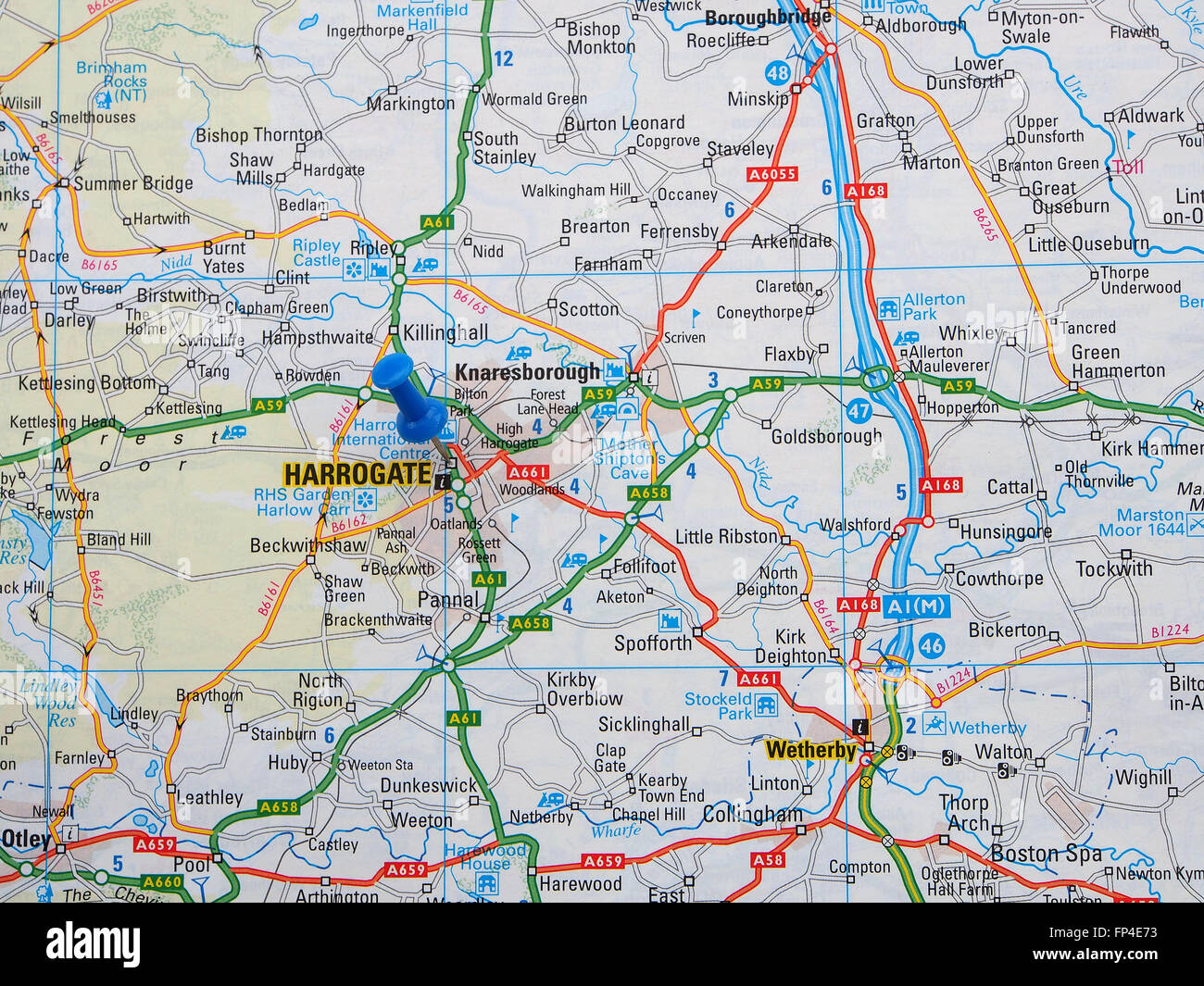 Worksheet. Road map of Yorkshire England showing the Harrogate and Wetherby
