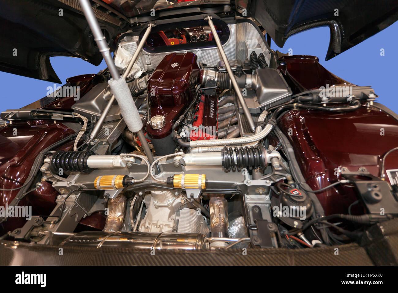 Closeup of the F140 B V12 engine of a Ferrari Enzo Stock Photo