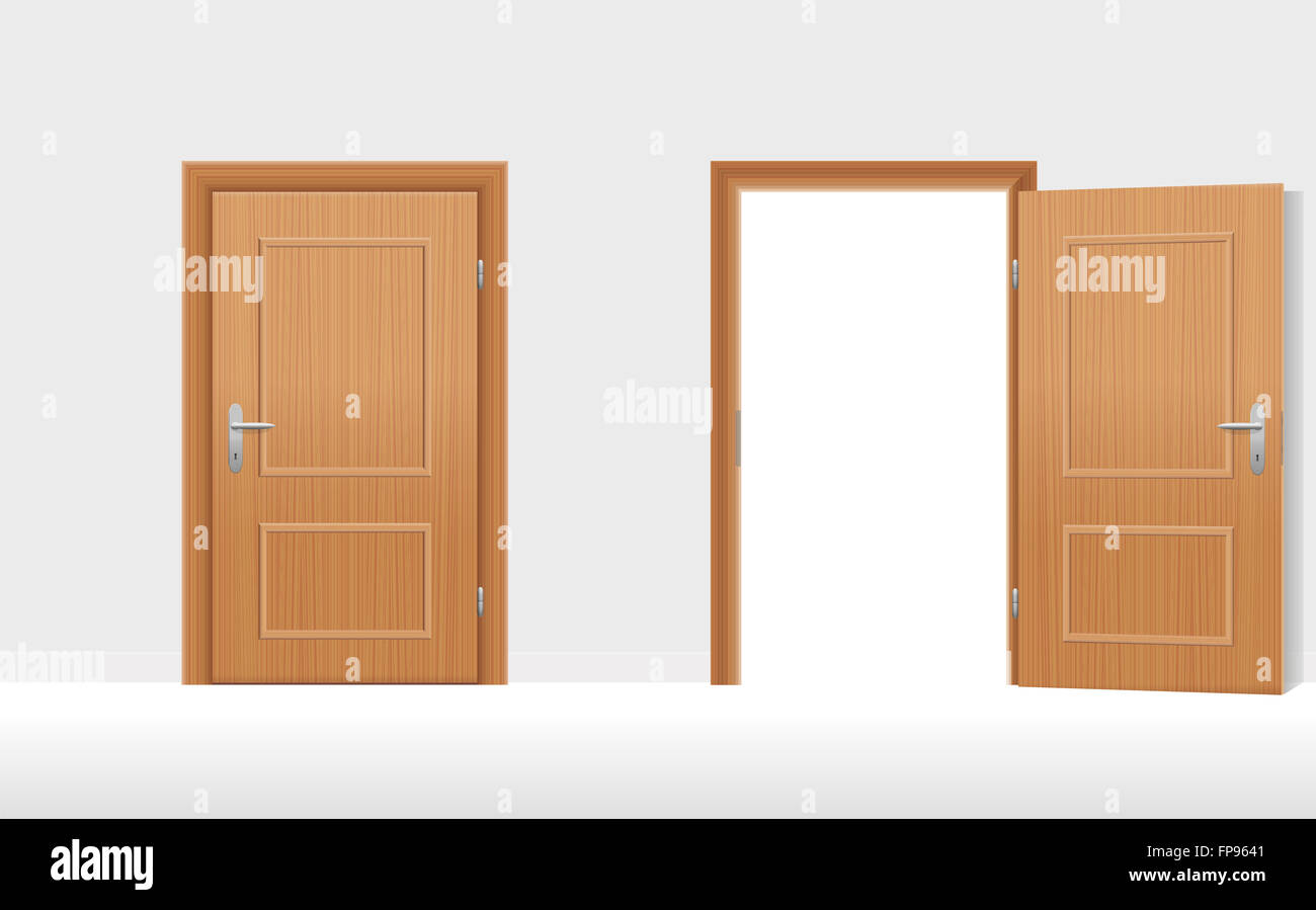 Doors - Two wooden doors one is closed the second is open & Doors - Two wooden doors one is closed the second is open Stock ...