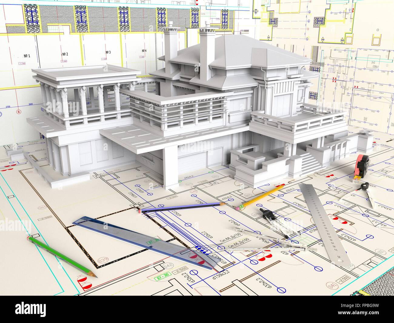 3d Rendering House Layout And Architectural Drawings Stock