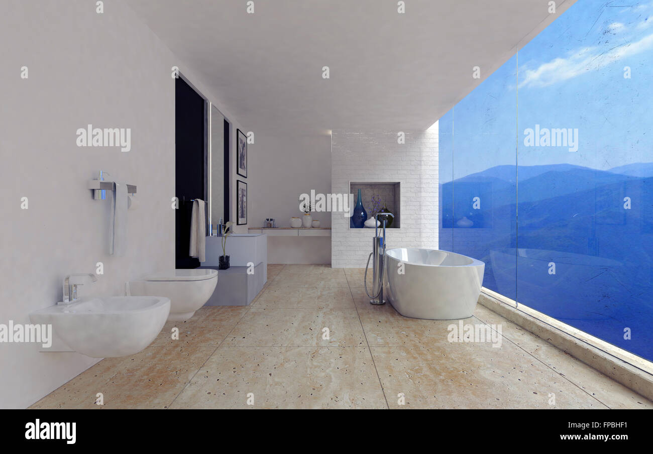 Large Spacious Modern Bathroom Interior With A Stunning View Of Mountain  Ranges Through A Panoramic Floor