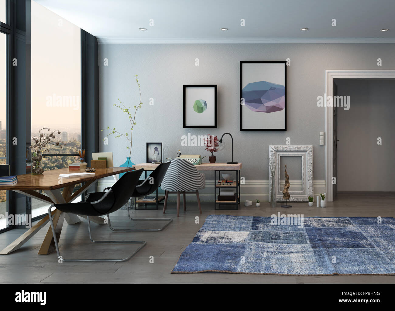 open space home office. Open Concept Home Office Space With Eclectic Furnishings In Modern High Rise Apartment Large Window And View Of City