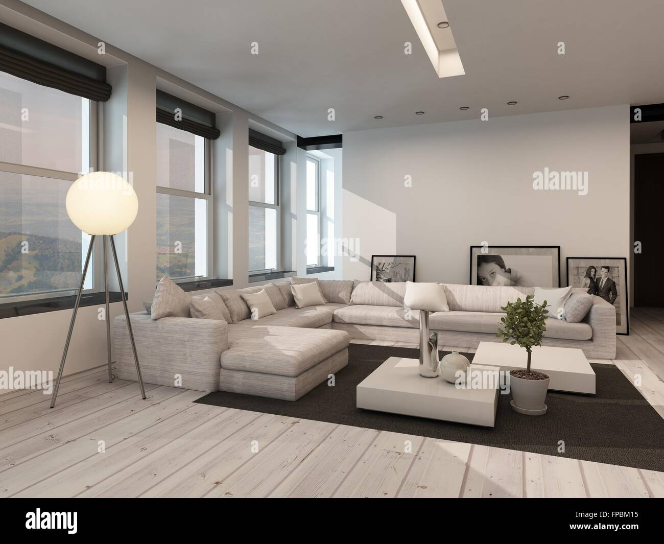Modern Black And White Sitting Room Interior With Painted White Floorboards  With A Black Carpet, Part 91