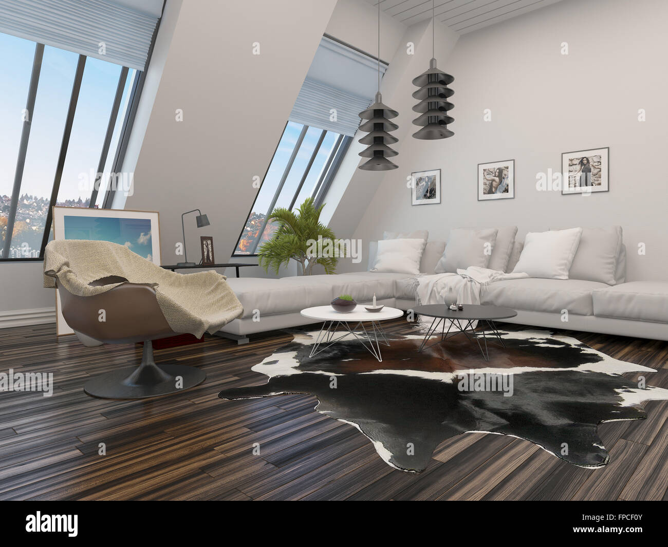 Modern Living Room With A Corner Unit Lounge Suite Armchair And Lighting An