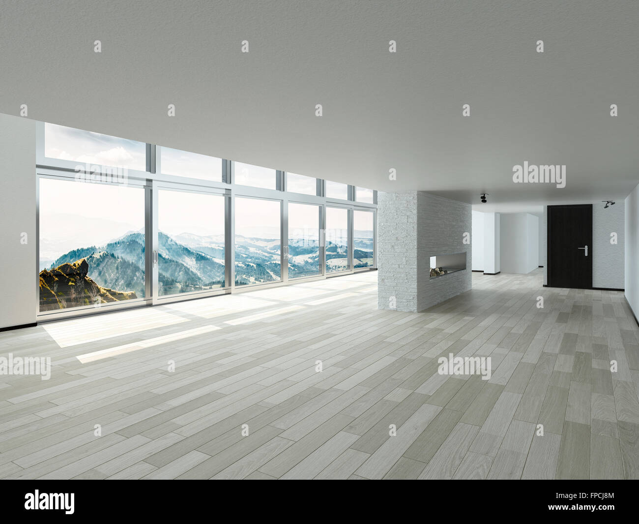 Interior windows architectural - Brand New Empty Architectural House Building Interior Design With Glass Windows For Beautiful Overlooking Outside Stock