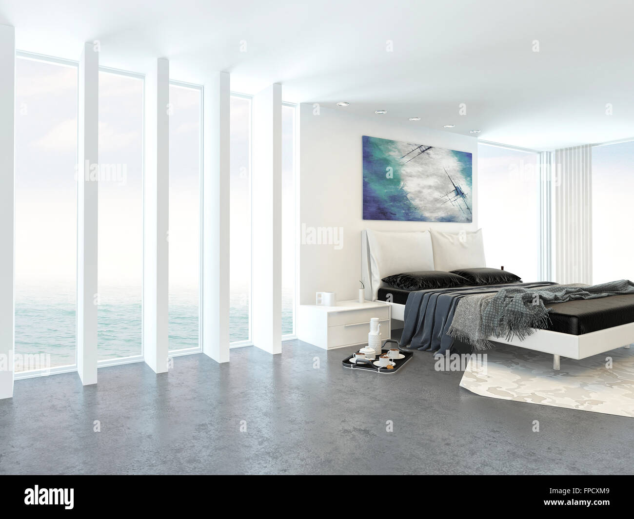 Modern Bright Light Bedroom Interior With A Double Divan Bed Alongside Floor To Ceiling Glass