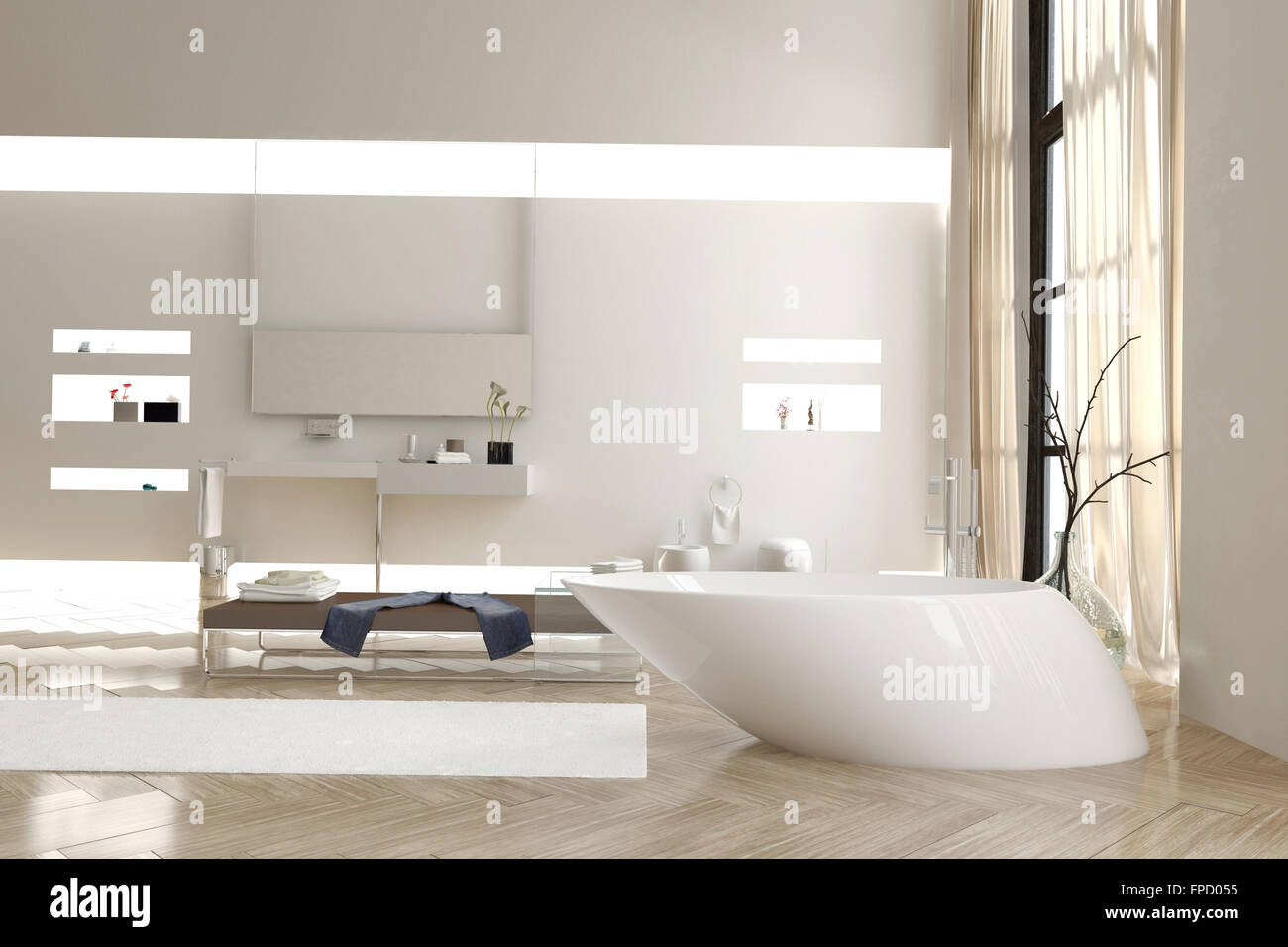 modern bathroom with a funky white bathtub and wall mounted vanity units and cabinets with a