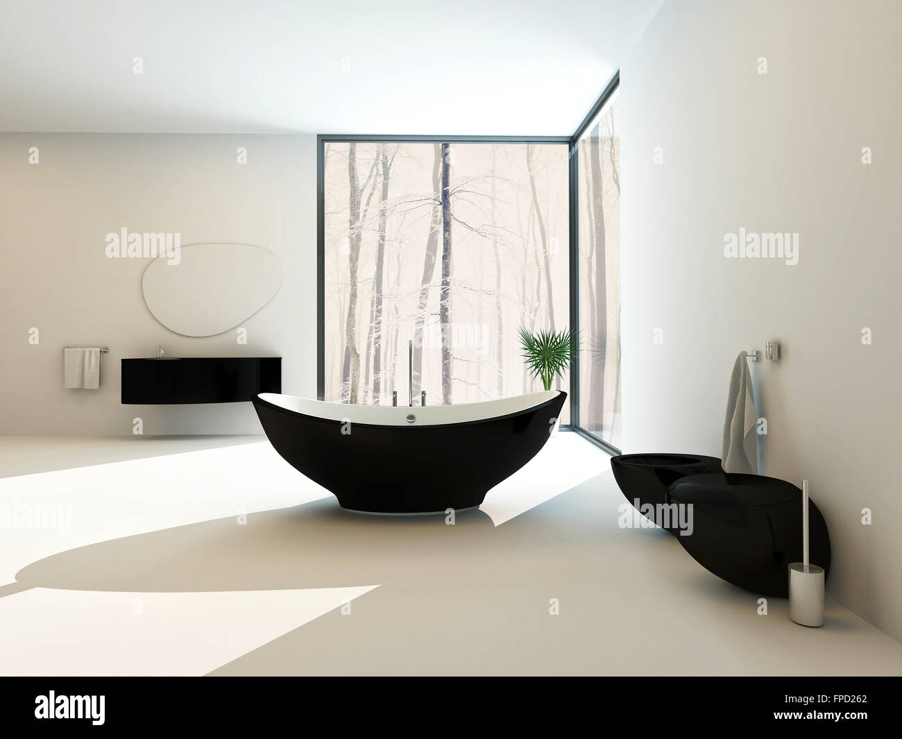 Wall hung bathroom suites - Contemporary Black Bathroom Suite With A Boat Shaped Freestanding Bathtub Wall Mounted Vanity