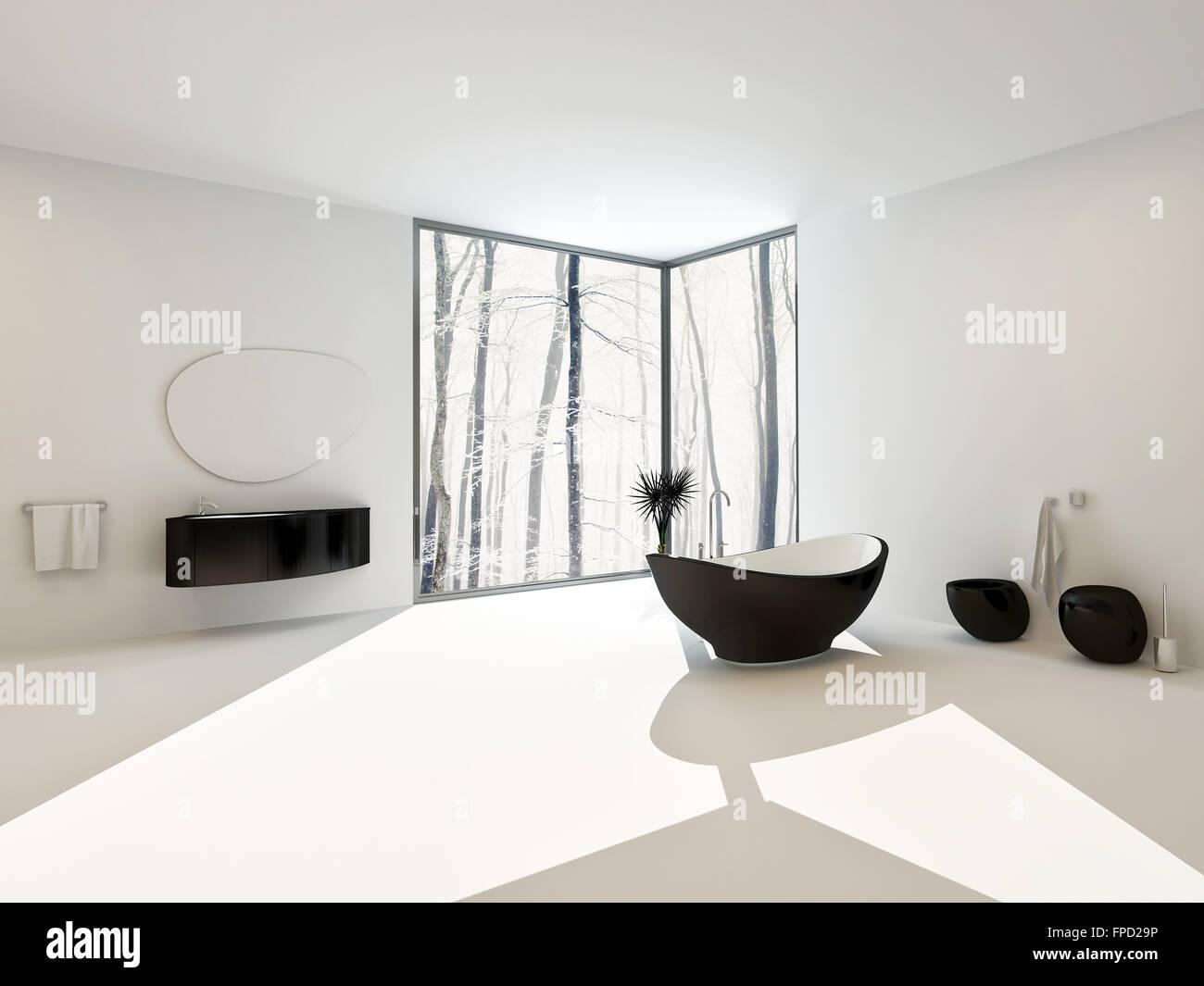 luxury spacious airy bright white modern bathroom interior with black boat shaped bathtub and matching vanity toilet and bidet - Black Luxury Modern Bathroom