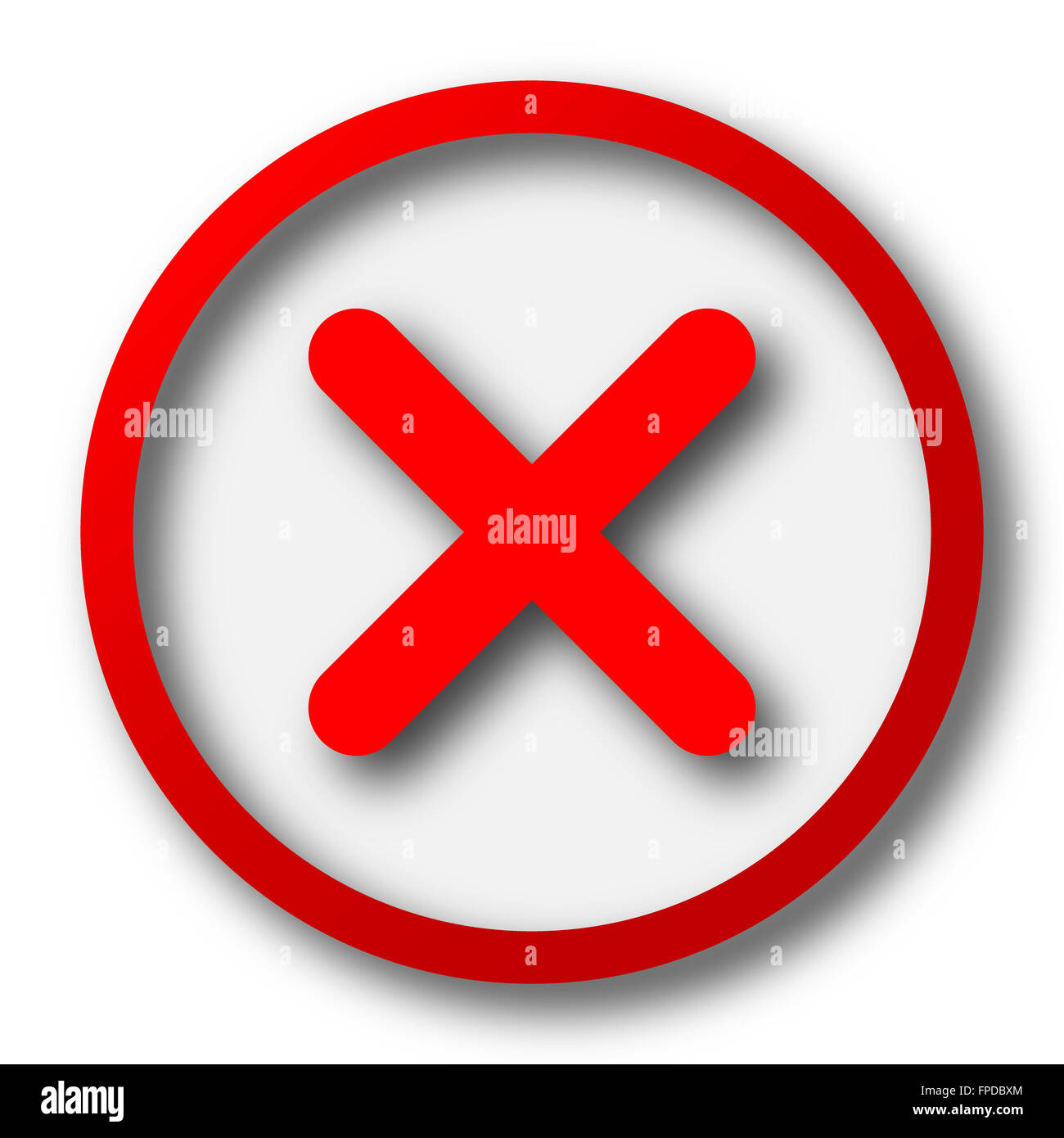 x close icon internet button on white background stock